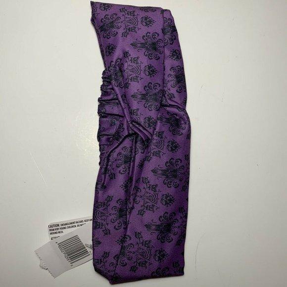 Disney Parks 2020 Haunted Mansion Wallpaper Purple Hair Wrap Headband w// elastic